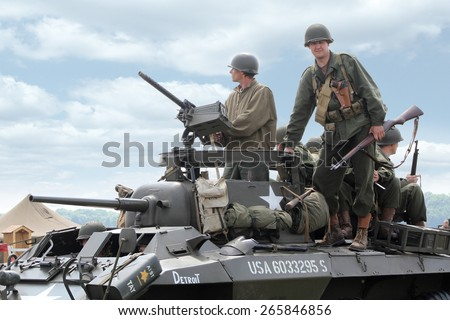 PARDUBICE, CZECH REPUBLIC - 2 June 2012: American historical Jeeps in aviation fair and century air combats, Pardubice, Czech Republic on 2-3 June 2012 - stock photo