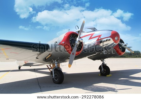 PARDUBICE, CZECH REPUBLIC - 6 June 2015: Lockheed Electra 10A aircraf in aviation fair and century air combats, Pardubice, Czech Republic on 6 June 2015 - stock photo