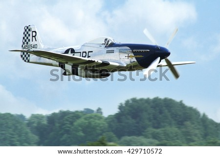 PARDUBICE, CZECH REPUBLIC - 29 May 2016: Aircraft P 51D Mustang aircraf in aviation fair and century air combats, Pardubice, Czech Republic on 29 May 2016 - stock photo