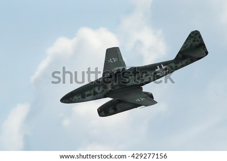 PARDUBICE, CZECH REPUBLIC - 29 May 2016:  AircraftMe-262 Schwalbe in aviation fair and century air combats, Pardubice, Czech Republic on 29 May 2016 - stock photo