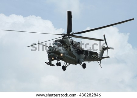 PARDUBICE, CZECH REPUBLIC - 29 May 2016: Helicopter Mi 24 in aviation fair and century air combats, Pardubice, Czech Republic on 29 May 2016 - stock photo