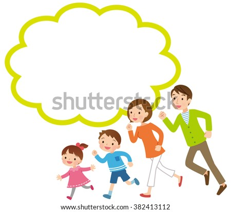 """Parent and child to run """"comments balloon"""" - stock photo"""