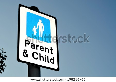 Parent & Child Parking Sign - stock photo