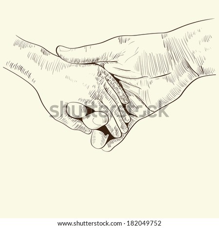 parent's hand lead his child , trust family concept monochrome  illustration retro styled hand drawn design element. raster copy.