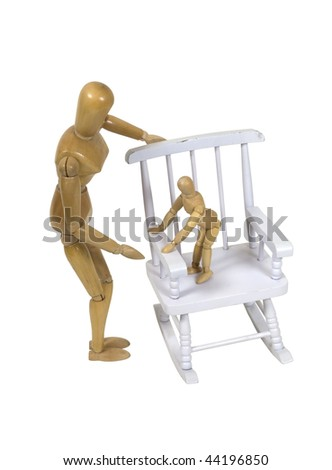 Parent trying to calm a toddler who is standing on a rocking chair - path included