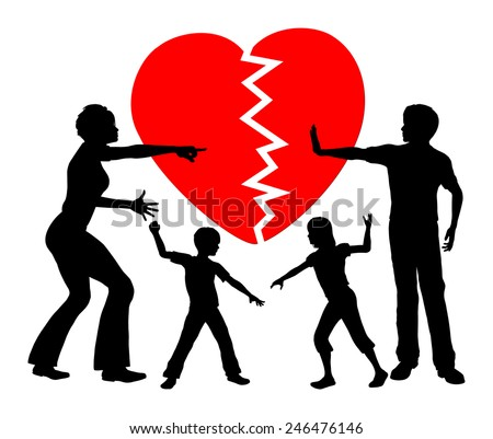 Parental Alienation. Concept sign of children getting emotional abused by divorced parents - stock photo