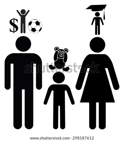 Parental Expectations. Concept sign of over ambitious parents concerning the career path of their kids in early education - stock photo