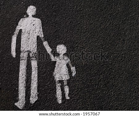 Parental guidance - a way for pedestrians sign on asphalt. - stock photo