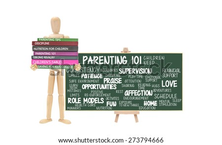 Parenting 101 Chalkboard Mannequin stack of Books Parenting Tips, Discipline, Nutrition, Sibling Rivalry, Children's Fables, Saving for Kids College isolated on white background - stock photo