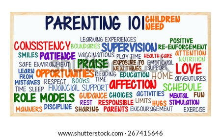 Parenting 101 Children Need: Love, Attention, Hugs, Discipline, Manners, Patience, Activities, Exercise, Nutrition, Health Care, Supervision, Encouragement, Safe Environment, Home, Parents whiteboard - stock photo