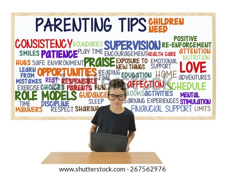 Parenting Tips: Children Need: Love, Attention, Role Models, Opportunities, Consistency, Supervision, Praise, Home, Discipline - stock photo