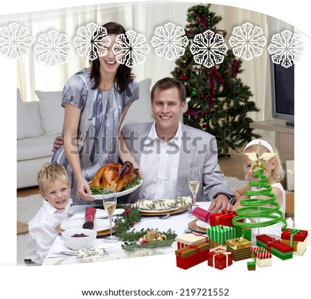 Parents and children celebrating Christmas dinner with turkey against snowflake frame - stock photo