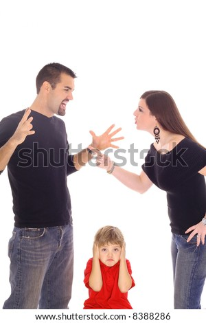 parents fighting and child stuck in between - stock photo