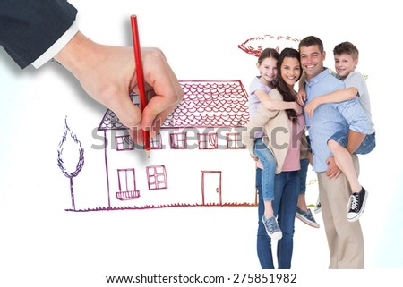 Parents giving piggyback ride to children over white background against grey - stock photo