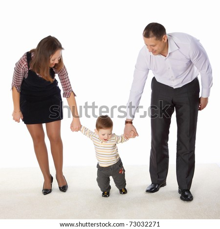 Parents learn the child to go