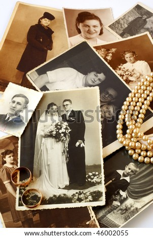Parents' vintage souvenirs - stock photo