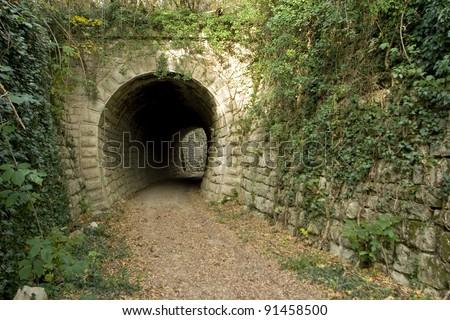 Parenzana railway tunnel - stock photo