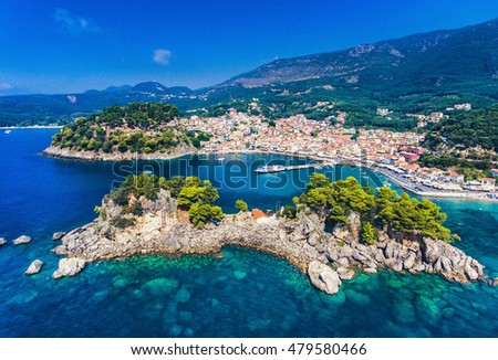 Parga Greece and Panagia Island aerial view. Important tourist destination on the east coast of Greece.