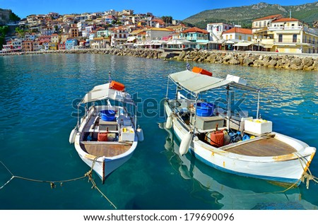 Parga port - Greek tourist resort - boats sea - stock photo