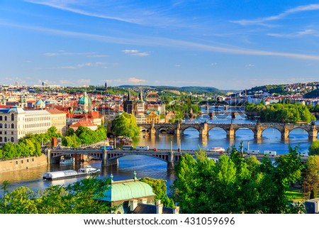 Pargue, view of the Lesser Bridge Tower and Charles Bridge (Karluv Most), Czech Republic. - stock photo
