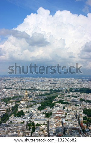 Paris aerial view from Montparnasse tower, looking north west over Les Invalides and Grand Palais - stock photo