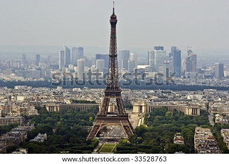 Paris Aerial view with Eiffel tower - stock photo