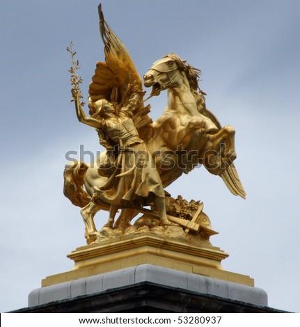 Paris. Alexander's bridge sculptures for different uses - stock photo