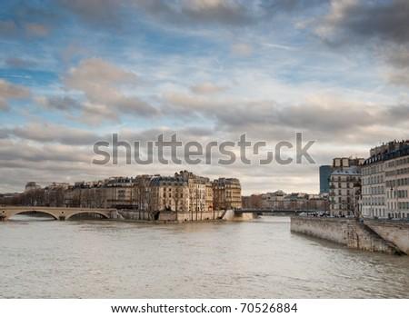 Paris and River Seine - stock photo
