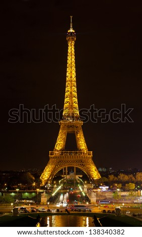 PARIS - APRIL 28 : Light Performance Show on April 28, 2013 in Paris. The Eiffel tower stands 324 meters (1,063 ft) tall. Monument was built in 1889, attendance is over 7 millions people.
