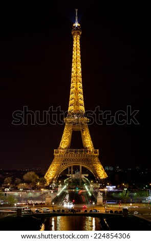 PARIS - APRIL 28 : Light Performance Show on April 28, 2013 in Paris. The Eiffel tower stands 324 metres (1,063 ft) tall. Monument was built in 1889, attendance is over 7 millions people.