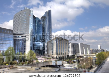 PARIS - APRIL 17: Panorama of La Defense on April 17, 2013 in Paris, France. Defense is most important business district of Paris.