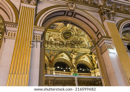 PARIS - AUGUST  08 : An interior view of the reception rooms at  the city hall of Paris shown on AUGUST 08, 2014 in Paris, France.