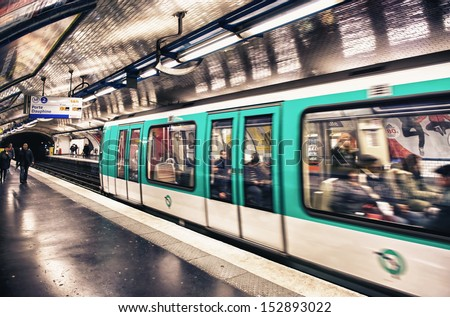PARIS - AUGUST 1: Paris Metro station on August 01, 2013 in Paris, France. Paris Metro is the 2nd largest underground system worldwide by number of stations (300).  - stock photo