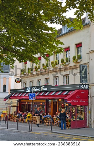 PARIS -August 22: View of typical paris cafe in the artists' quarter of Montmartre on August 22,2014, Paris, France - stock photo