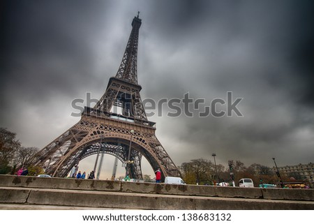 Paris. Beautiful view of Eiffel Tower on a cold December morning. - stock photo