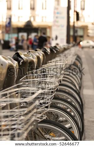Paris bikes - stock photo
