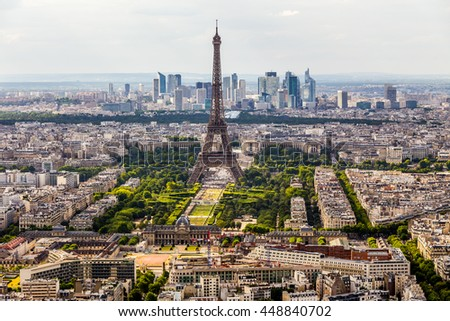 Paris bird's eye view, France - stock photo