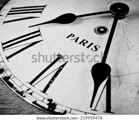 Paris black and white clock face - stock photo