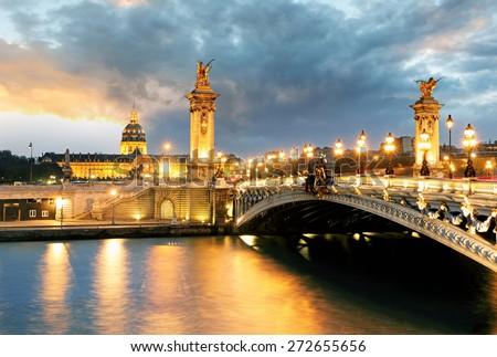 Paris bridge Alexandre 3, III and Seine river - stock photo