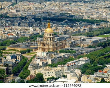 Paris city aerial view from Montparnasse tower. France. - stock photo