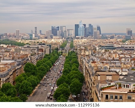 Paris city beautiful view to the Defense district. - stock photo