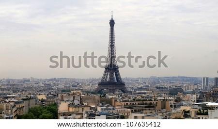 Paris city Eiffel tower view  from Arc  triumph. - stock photo