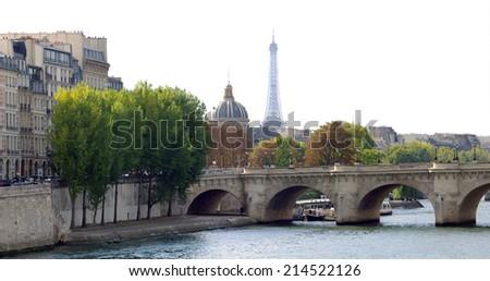 Paris city image of Eiffel Tower in autumn  - stock photo