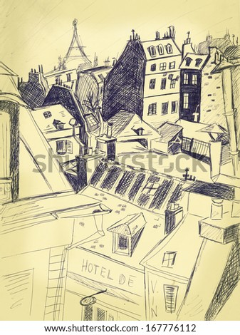 Paris cityscape. Vintage pen drawing