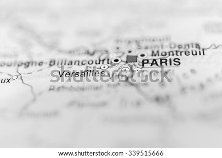 Paris close up on map. Shallow depth of field. - stock photo