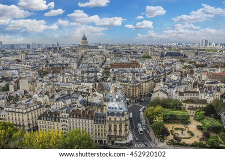 Paris day Panorama. View from Cathedral Notre Dame de Paris. France.