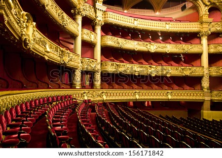 PARIS - DECEMBER 22 : An interior view of Opera de Paris, Palais Garnier, is shown on DECEMBER 22, 2012 in Paris. It was built from 1861 to 1875 for the Paris Opera house.  - stock photo