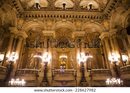 PARIS - DECEMBER 22 : An interior view of Opera de Paris, Palais Garnier, It was built from 1861 to 1875 for the Paris Opera house an is shown on DECEMBER 22, 2012 in Paris.