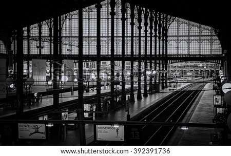 PARIS - December 6: passengers arrive and depart at Gare du Nord station on December 5, 2014 in Paris, France. With 190 million travelers a year this station is the busiest railway station in Europe.