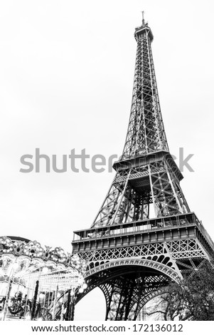 Paris Eiffel Tower and carousel in black and white with copy space - stock photo